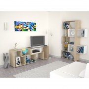 Combo TuHome Rack Extensible + Biblioteca Cubo - Rovere