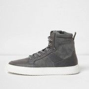 River Island Mens Grey high top contrast sole lace-up trainers