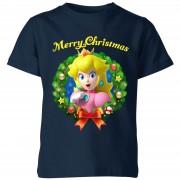 Nintendo Super Mario Peach Merry Christmas Kinder T-shirt - Navy - 11-12 Years - Navy blauw