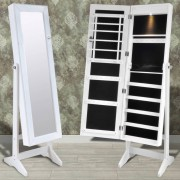 vidaXL Шкаф-огледало за съхранение на бижута, с LED лампи вътре