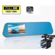 Camera duala Oglinda retrovizoare HD DVR auto cu microfon si difuzor incorporate + camera suplimentara marsalier