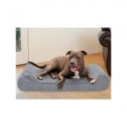 FurHaven Ultra Plush Luxe Lounger Cooling Gel Dog Bed w/Removable Cover, Gray, Large