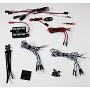 Genuine MyTrickRC -OPK01- Off Road RC 10 LED Light Kit, Includes 4 Headlights, 4 Driving Lights, 2 Tail/brake Lights). This Kit Features a High End Expandable Multi-function Lighting Controller that is Easy to Install and Powers off a 9V Battery or Trucks