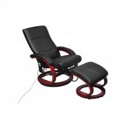 vidaXL Cadeira massagem elétrica c/ apoio pés couro artificial preto
