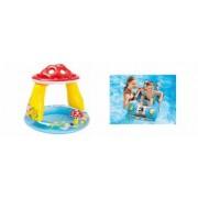 Pachet Piscina Gonflabila pentru Copii Tip Ciupercuta cu Parasolar Model 57114 102 x 89 cm + Masinuta Gonflabila pentru