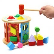 Joyeee® Wooden Baby Shape Color Recognition Intelligence Sorter - Cylinder Shaped Early Education Shape Colour...