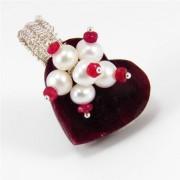 Egyedi tenyésztett gyöngyös rubin szív medál