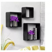 Onlineshoppee Square Nesting MDF Wall Shelf - Black