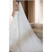 Qishis Long 118 Inches Double Layer Accesory Wedding Bridal Veil (white)