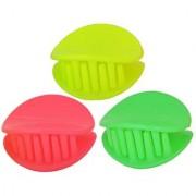 Maayra Women Girls Hair Clutchers Plain in Yellow Pink Green for Dailywear Pack of 3