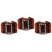 Linziclip Malý skřipec MINI 3 ks - hnědý s krystalky