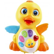 Super Interactive LED Light Up Quacking Duck Toy with Volume Control & Bump Sensors   Walking Musical Sound Toy for Toddlers and Babies   Great Baby Educational Toys   Heavy Duty & Cute Design
