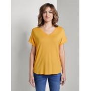 TOM TAILOR Basic T-shirt met V-hals, Dames, deep golden yellow, M