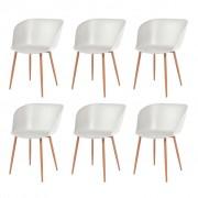 vidaXL Jídelní židle 6 ks bílé plastové sedáky, ocelové nohy