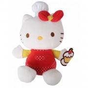 Jemini knuffel Hello Kitty Fait La Cuisine 15 cm wit/rood