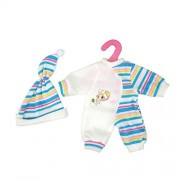 Cute Baby Doll Clothes Clothing Dresses Blue Stripes Rompers Jumpsuit Pajames Outfits with Hat for 14-16 Inches American Girl / Boy Dolls by XADP