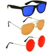 Elligator Aviator, Wayfarer, Round Sunglasses(Blue, Orange, Red)