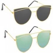 SRPM Cat-eye, Wayfarer Sunglasses(Green, Black)