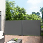[pro.tec]® Dupla paraván kerti napellenző 160 x (2 x 300) cm kültéri kihúzható szél- és napellenző belátásgátló szürke
