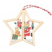 Geen Houten ster met beren kerstversiering hangdecoratie 10 cm
