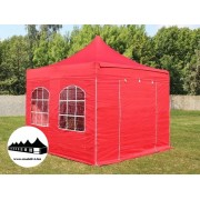 3x3m összecsukható pavilon ablakos piros Prémium (Premium)