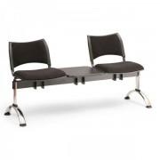 Kovo Praktik RAUMAN Čalouněné lavice SMART, 2-sedák + stolek, chromované nohy černá