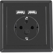 Priza schuko de perete 100V - 240V 16A Lanberg cu 2 porturi USB 5V 2.1A 86 x 86 x 45 mm cu impamantare neagra AC-WS01-USB2-F-B-DC