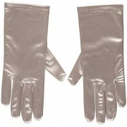 Merkloos Zilveren gala handschoenen kort van satijn 20 cm