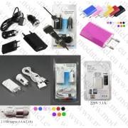 Комплект зарядни за 12V+220V+кабел за iPhone+Micro & Mini USB