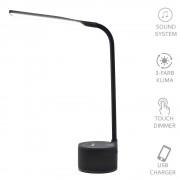 VASNER Lumbeat Schreibtischleuchte LED schwarz 35 W dimmbar USB Bluetooth Musik Tageslicht