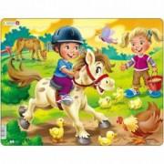Puzzle Copiii la Ferma cu Ponei 16 Piese Larsen LRBM8 B39016776
