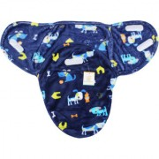 Ole Baby Dog And Home Print Comfortable Swaddle Blanket Adjustable Infant Wrap With Velcro Closure Soft Furry In Blue White And Yellow 0-6 Months