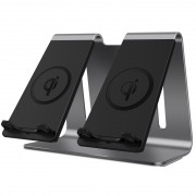 BESTAND Aluminum Alloy Bracket Double Fast Charging Wireless Charger - Grey/EU Plug