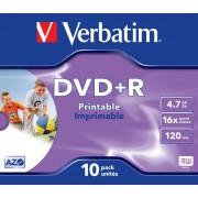 "DVD+R VERBATIM 4.7 GB, 120 min, viteza 16x, Single Layer, carcasa, printabil, ""Wide Inkjet Printable"", 10 buc/set"