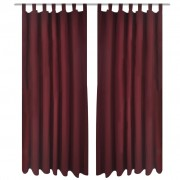 vidaXL 2 pcs Bordeaux Micro-Satin Curtains with Loops 140 x 175 cm