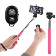 Selfie stick roz cu bluetooth si telecomanda