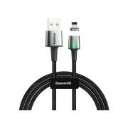 Cablu Date si Incarcare Baseus Zinc Magnetic, USB la Lightning, 3A Fast Charge, 2m, Negru + Gri