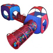 Playz 4pc Pop Up Children Play Tent w/ 2 Crawl Tunnel & 2 Tents - Kids Play Tents for Boys