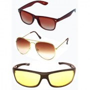 Magjons Brown Wayfarer Aviator Sunglasses Combo Yellow Driving Goggale Set of 3 With box MJK018