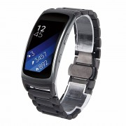Black Fit 2 Stainless Steel Watch Replacement Bands For Samsung Galaxy Gear Fit 2 SM-R360 Large 6.5-8.1 inches (Metal Black)