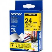 Ламинирана лента Brother TZ-E651 Tape Black on Yellow, Laminated, 24mm - Eco - TZE651
