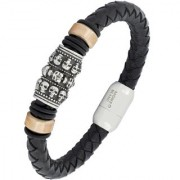 Vintage 100 Genuine Handmade Soft Durable Black Leather Stainless Steel Wrist Band Bracelet Men