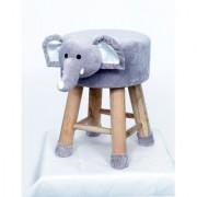 Welhouse India Baby Elephant Animal Shaped Ottoman/Foot Stool for Kids 30x30x42CMS- Grey