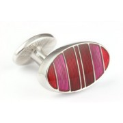 Mousie Bean Enamelled Cufflinks Symetrical Stripes 041 Tonal Red