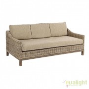 Canapea design natural din lemn de mango si rattan SANTAREM 3 locuri 0671634 BZ