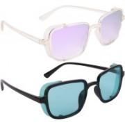 NuVew Wayfarer, Shield Sunglasses(Green, Violet)