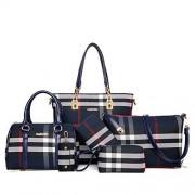 LJYFST Bolso de mujer con patrón de cuadrícula bolsos de seis piezas bolsos de hombro para mujer bolso grande marea, color, azul, tamaño, 29x11x28cm