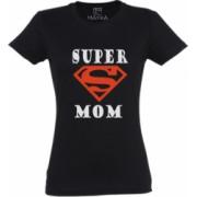 Tricou dama din bumbac 100 MAYKA model Super Mom culoare negru marime XL