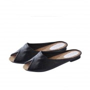 EY Moda Mujer Zapatillas De Cuero Suave Leopardo Superior Imprime Peep Toe Sandalias-Negro
