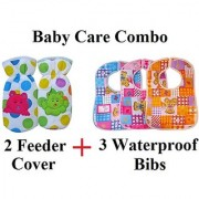 Baby Care Combo (2 Feeder Cover + 3 Water Proof Bibs)